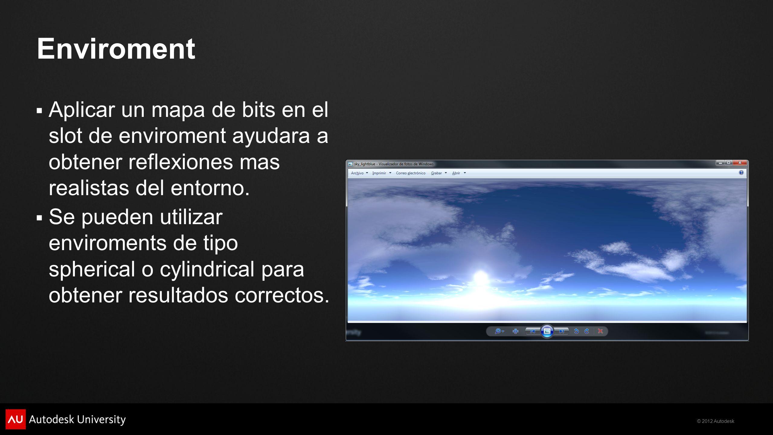 Enviroment Aplicar un mapa de bits en el slot de enviroment ayudara a obtener reflexiones mas realistas del entorno.