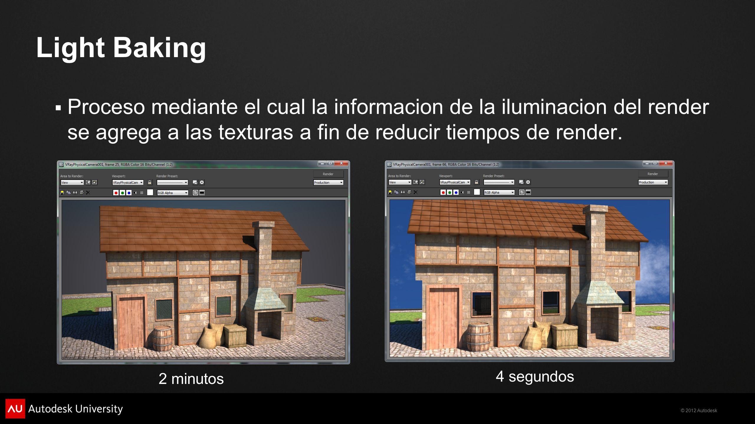 Light Baking Proceso mediante el cual la informacion de la iluminacion del render se agrega a las texturas a fin de reducir tiempos de render.