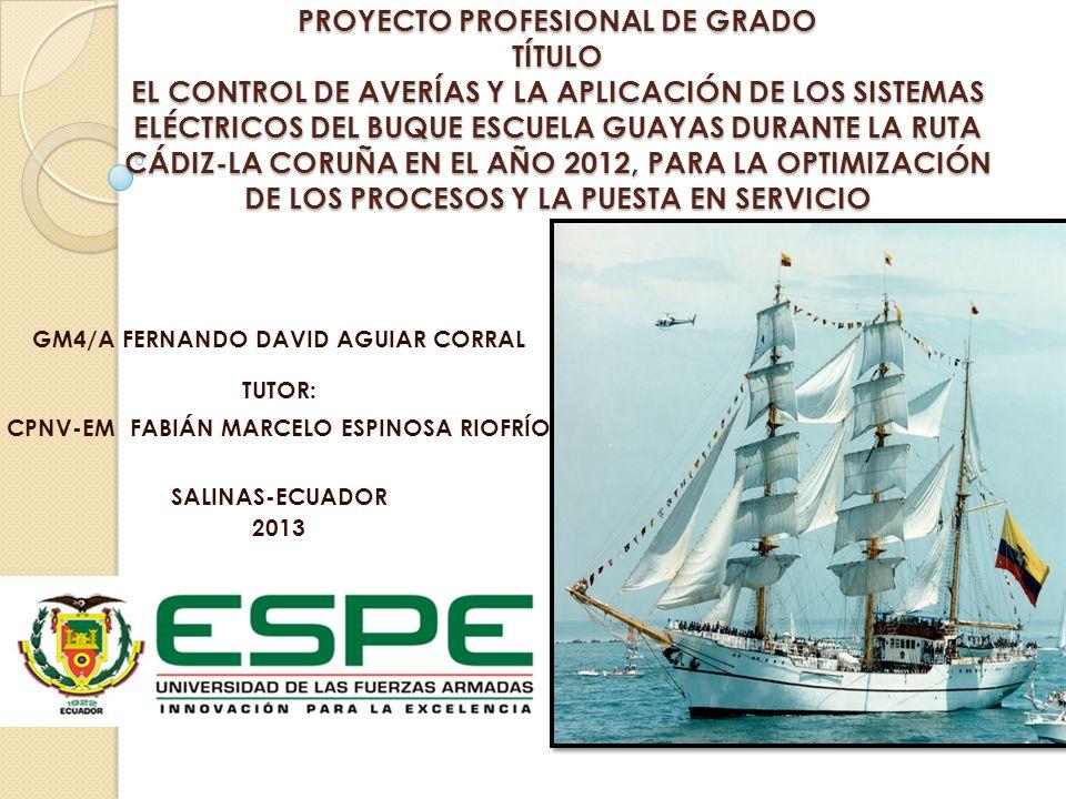 PROYECTO PROFESIONAL DE GRADO TÍTULO EL CONTROL DE AVERÍAS Y LA APLICACIÓN DE LOS SISTEMAS ELÉCTRICOS DEL BUQUE ESCUELA GUAYAS DURANTE LA RUTA CÁDIZ-LA CORUÑA EN EL AÑO 2012, PARA LA OPTIMIZACIÓN DE LOS PROCESOS Y LA PUESTA EN SERVICIO
