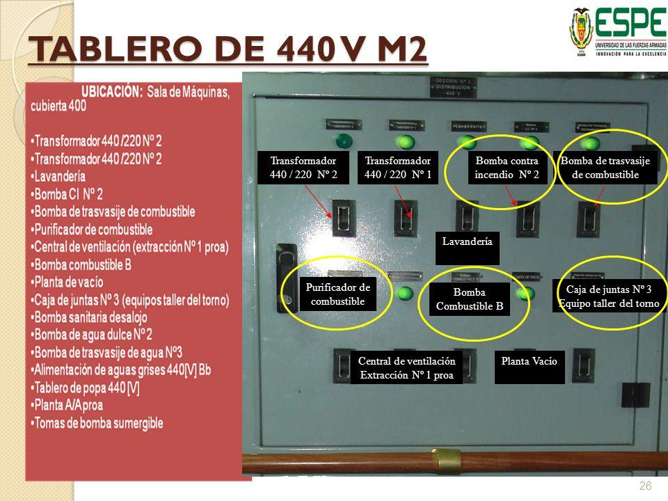 TABLERO DE 440 V M2 Transformador 440 / 220 Nº 2 Transformador