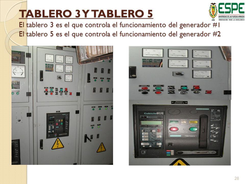 TABLERO 3 Y TABLERO 5 El tablero 3 es el que controla el funcionamiento del generador #1 El tablero 5 es el que controla el funcionamiento del generador #2