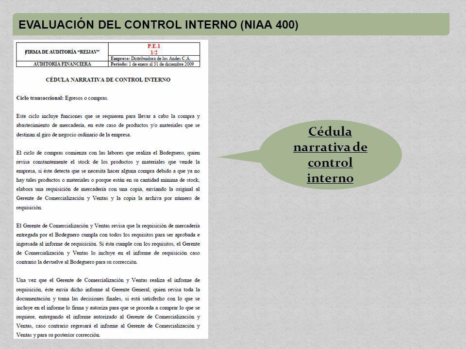 Cédula narrativa de control interno