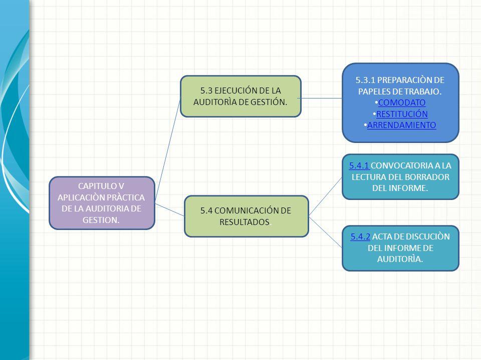 5.3.1 PREPARACIÒN DE PAPELES DE TRABAJO. COMODATO RESTITUCIÓN