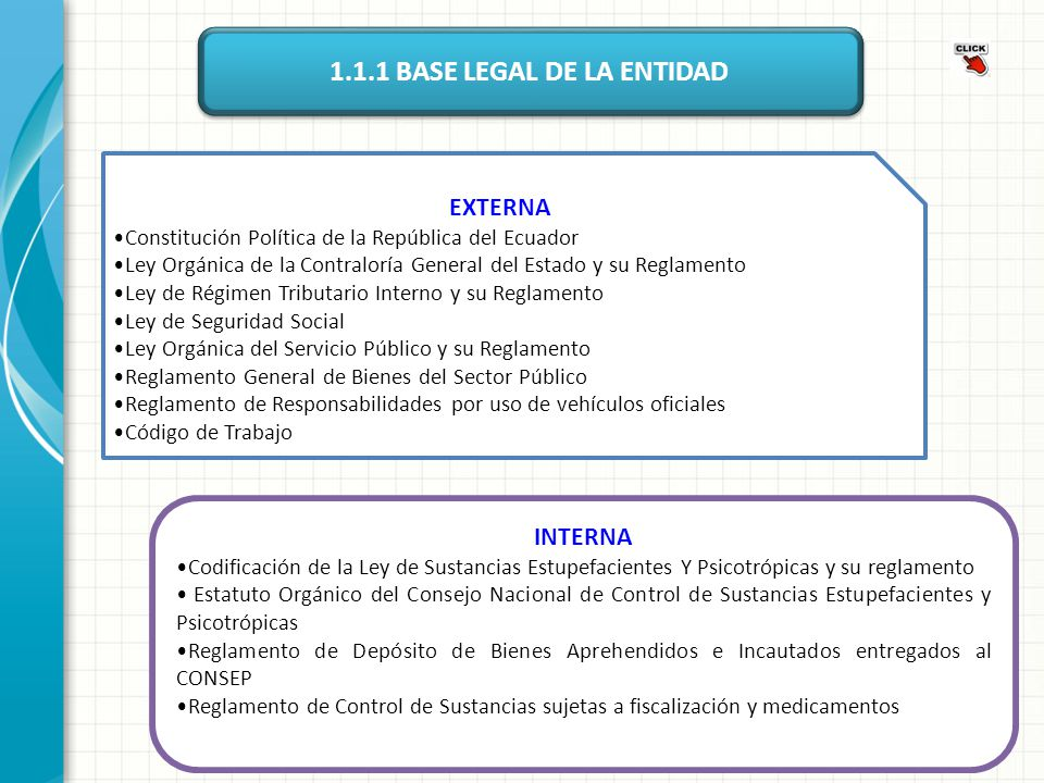 1.1.1 BASE LEGAL DE LA ENTIDAD
