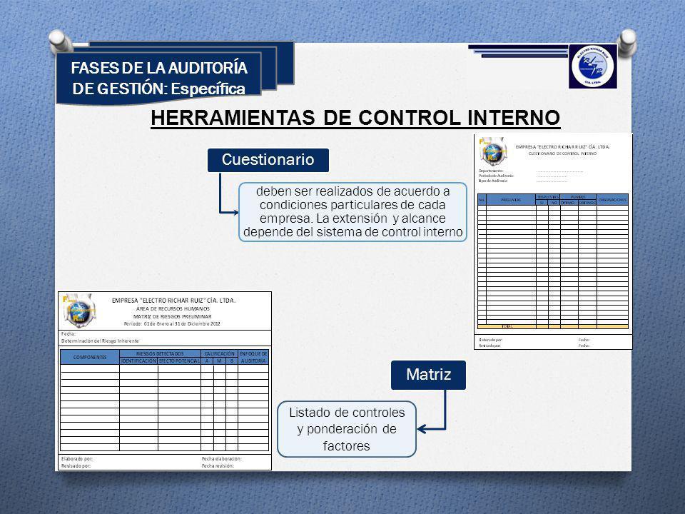 HERRAMIENTAS DE CONTROL INTERNO