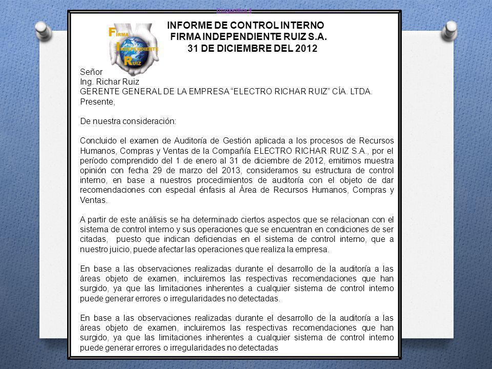 INFORME DE CONTROL INTERNO FIRMA INDEPENDIENTE RUIZ S.A.