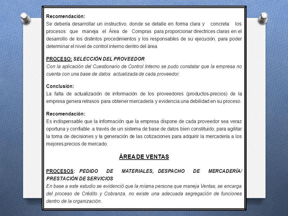 ÁREA DE VENTAS Recomendación: