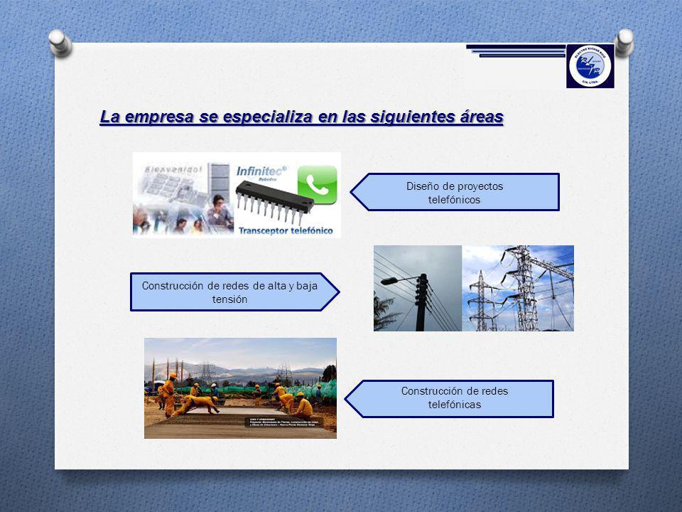 La empresa se especializa en las siguientes áreas