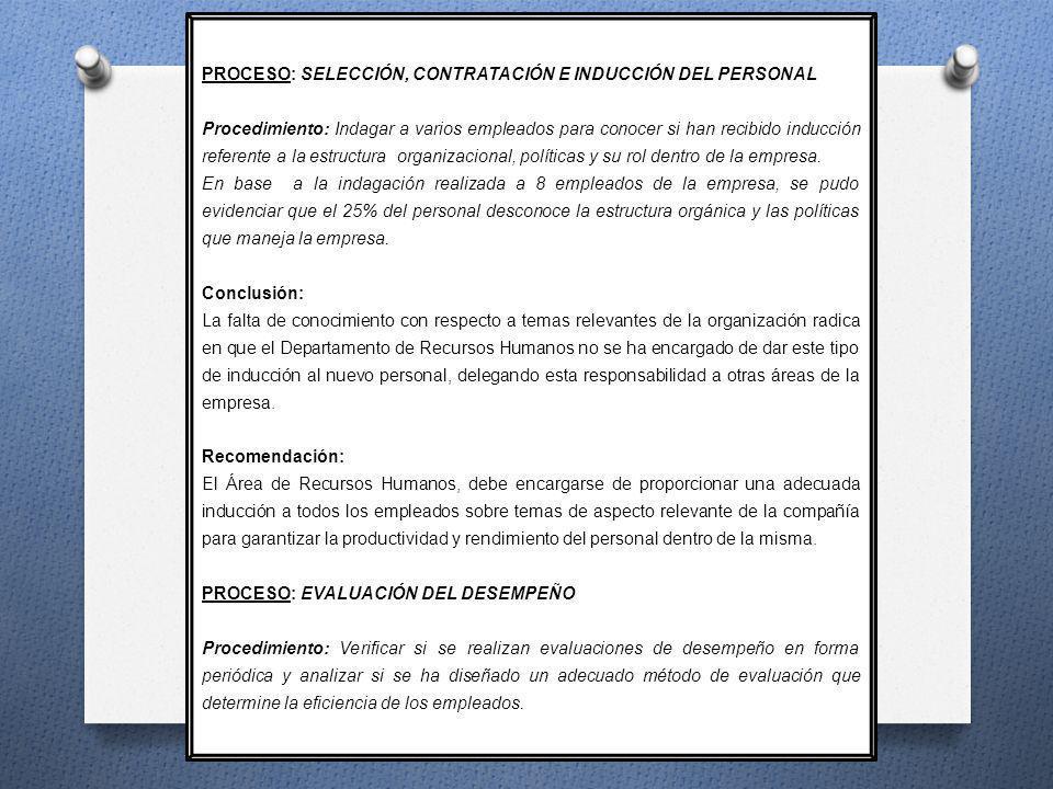 PROCESO: SELECCIÓN, CONTRATACIÓN E INDUCCIÓN DEL PERSONAL