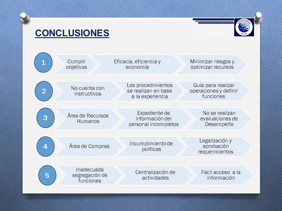 CONCLUSIONES 1 2 3 4 5 Cumplir objetivos