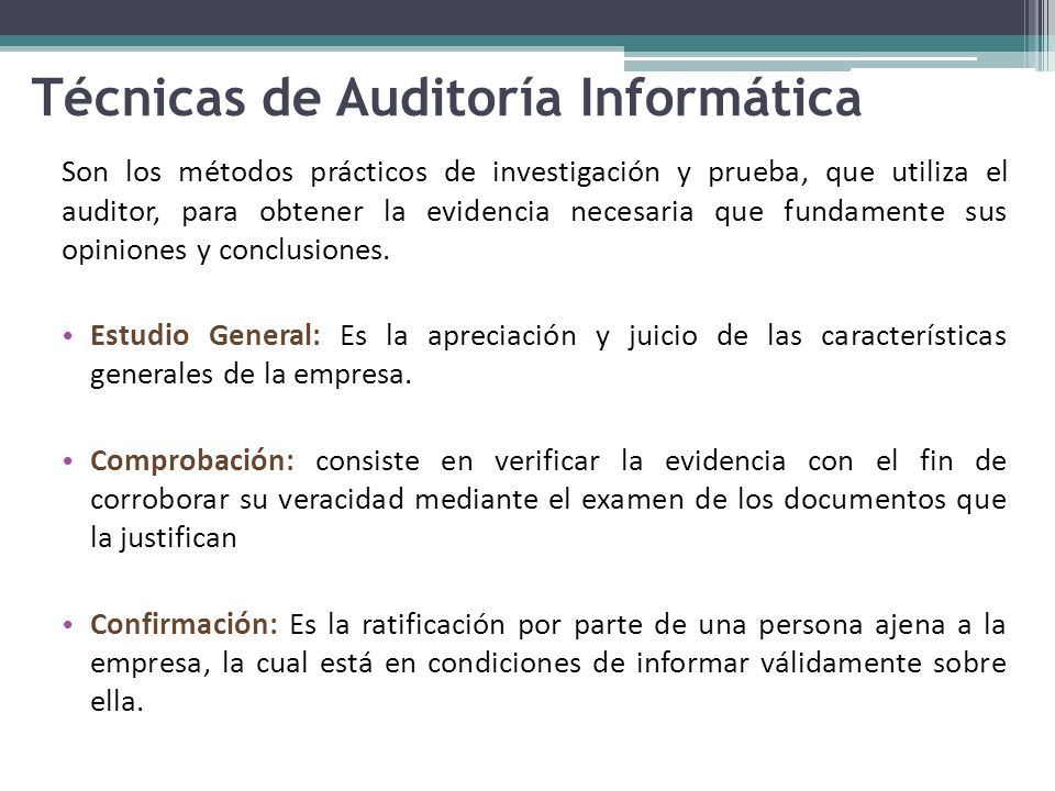 Técnicas de Auditoría Informática