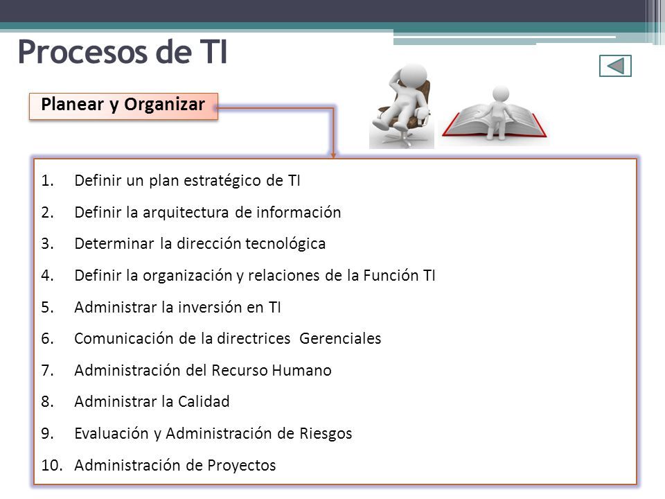 Procesos de TI Planear y Organizar Definir un plan estratégico de TI