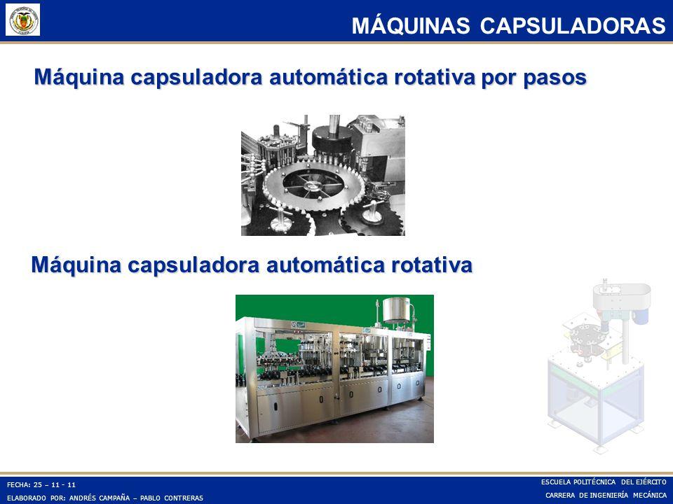 Máquina capsuladora automática rotativa por pasos