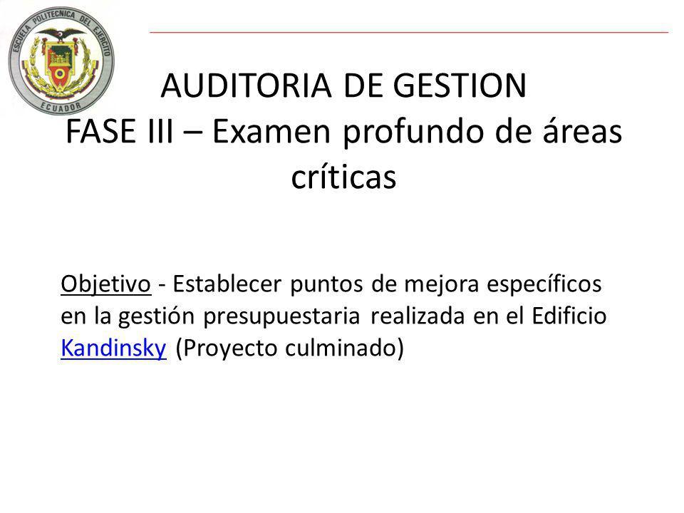 AUDITORIA DE GESTION FASE III – Examen profundo de áreas críticas