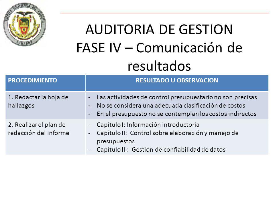 AUDITORIA DE GESTION FASE IV – Comunicación de resultados