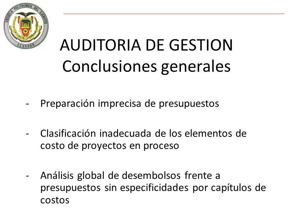 AUDITORIA DE GESTION Conclusiones generales