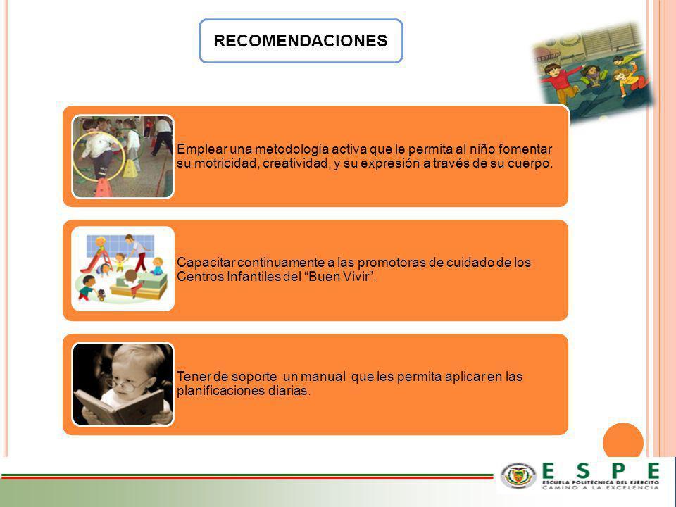 RECOMENDACIONES Emplear una metodología activa que le permita al niño fomentar su motricidad, creatividad, y su expresión a través de su cuerpo.