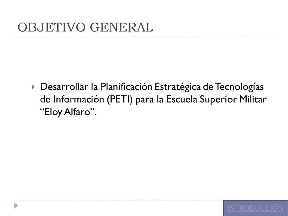 OBJETIVO GENERAL Desarrollar la Planificación Estratégica de Tecnologías de Información (PETI) para la Escuela Superior Militar Eloy Alfaro .