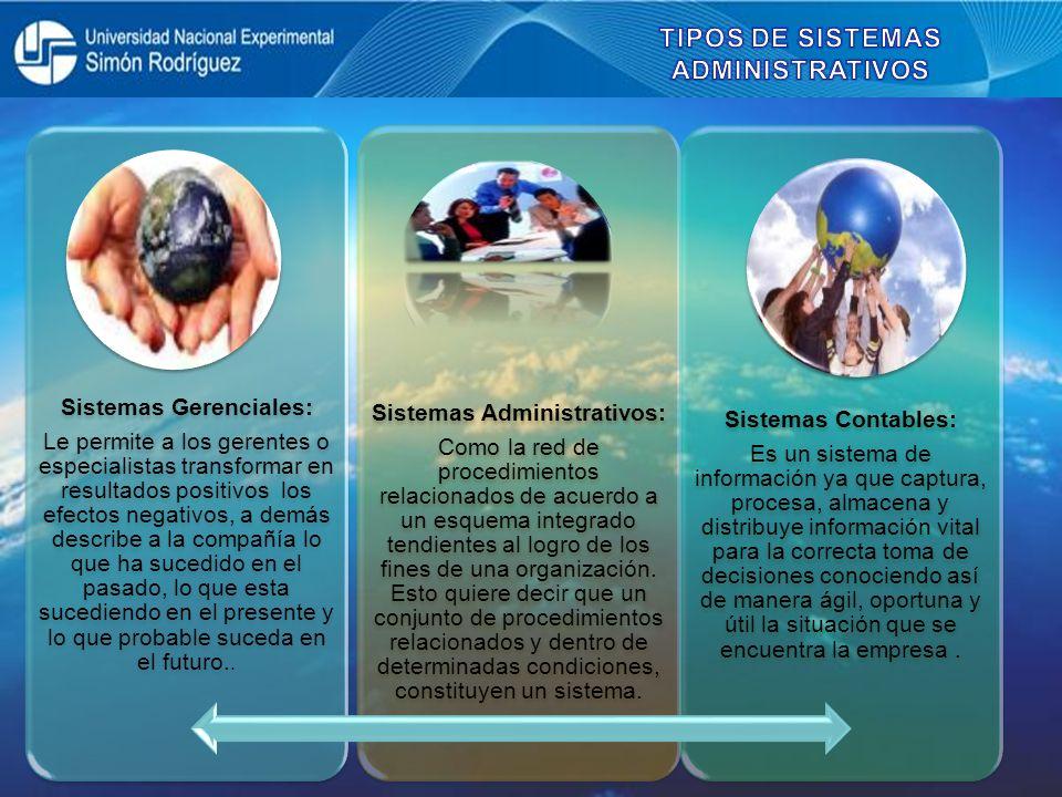 TIPOS DE SISTEMAS ADMINISTRATIVOS