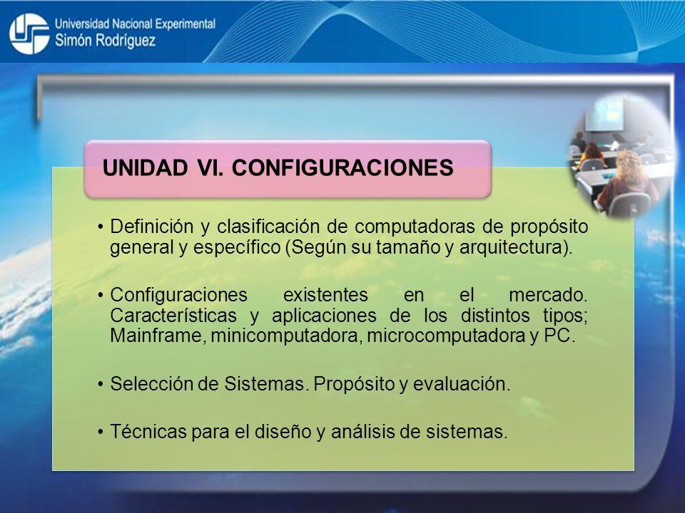UNIDAD VI. CONFIGURACIONES