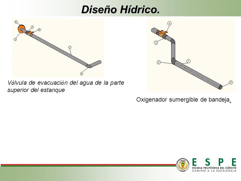 Diseño Hídrico. Válvula de evacuación del agua de la parte superior del estanque.