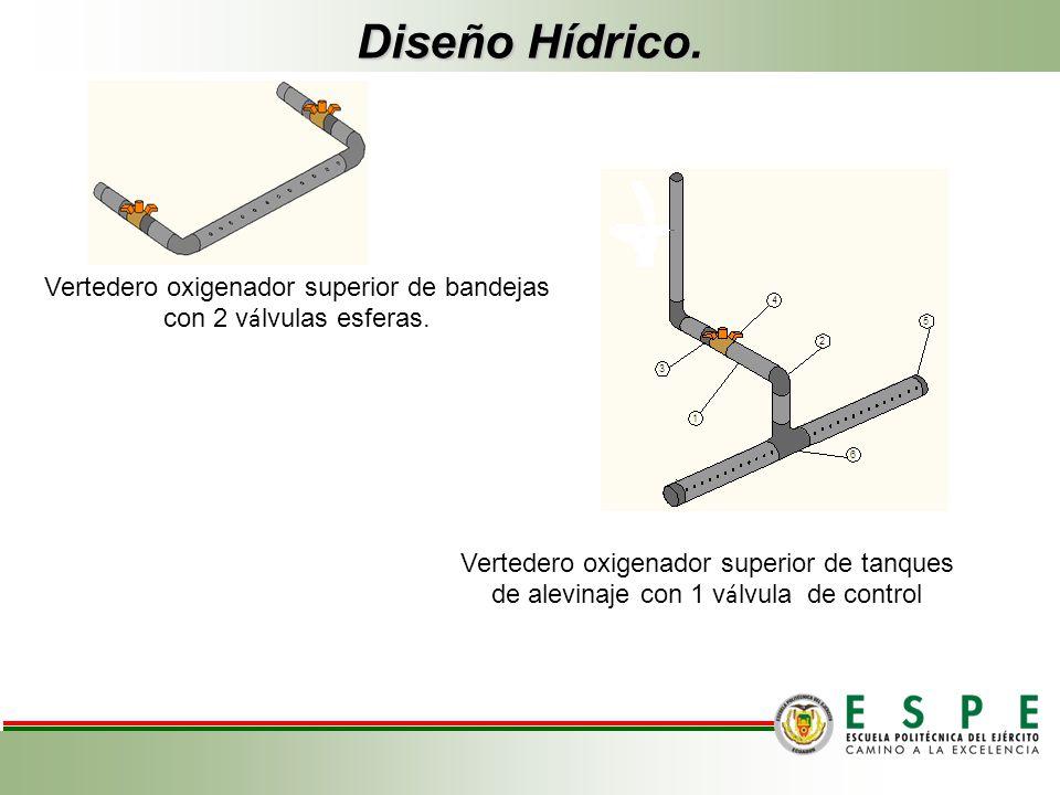 Vertedero oxigenador superior de bandejas con 2 válvulas esferas.