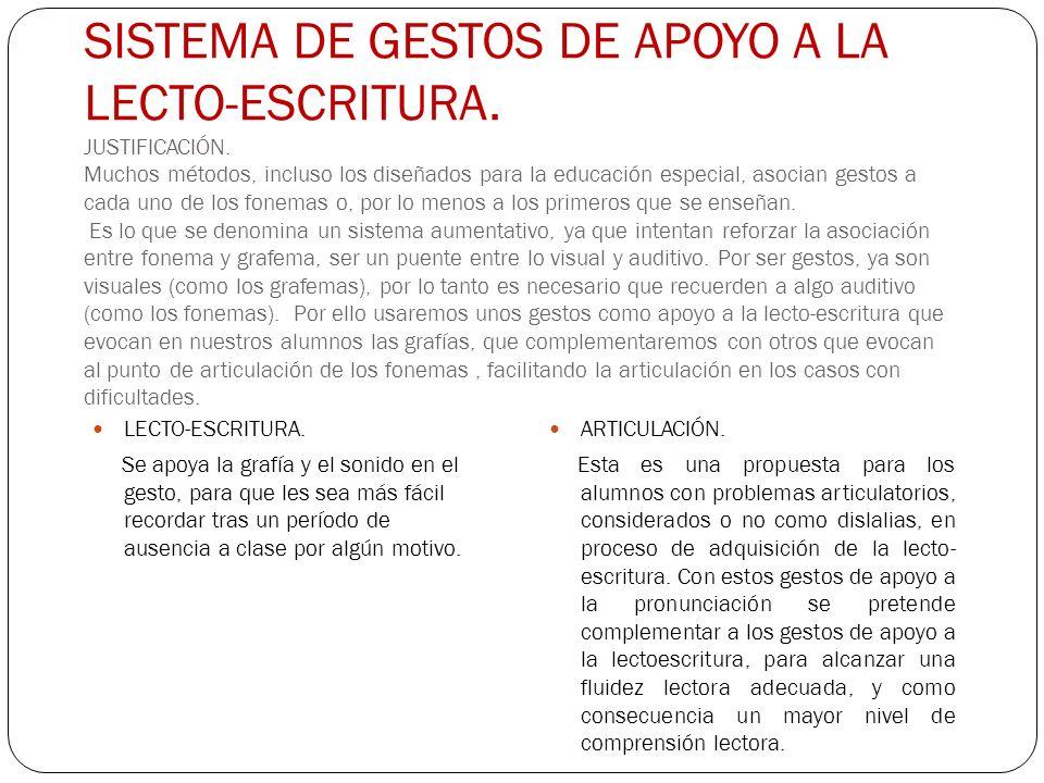 SISTEMA DE GESTOS DE APOYO A LA LECTO-ESCRITURA. JUSTIFICACIÓN