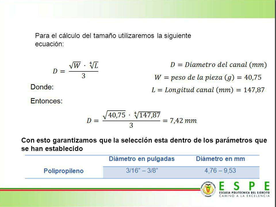 Para el cálculo del tamaño utilizaremos la siguiente ecuación: