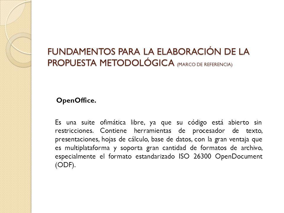 FUNDAMENTOS PARA LA ELABORACIÓN DE LA PROPUESTA METODOLÓGICA (marco de referencia)