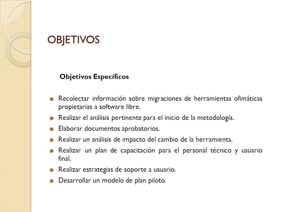 OBJETIVOS Objetivos Específicos