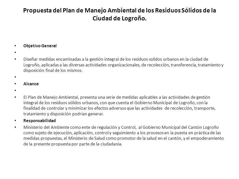 Propuesta del Plan de Manejo Ambiental de los Residuos Sólidos de la Ciudad de Logroño.