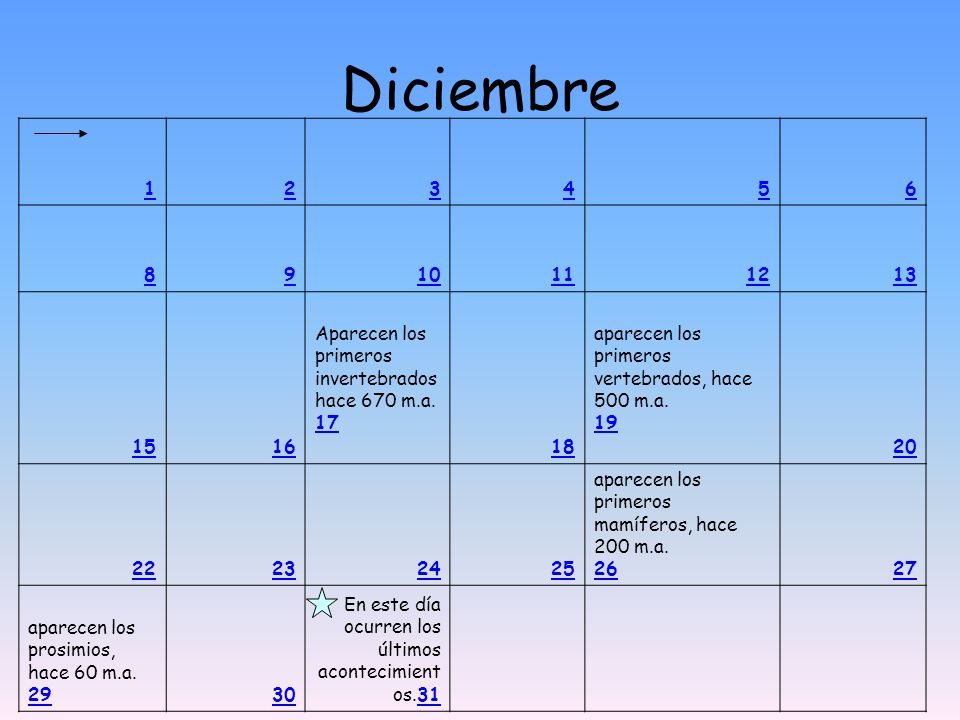 Diciembre 1. 2. 3. 4. 5. 6. 8. 9. 10. 11. 12. 13. 15. 16.