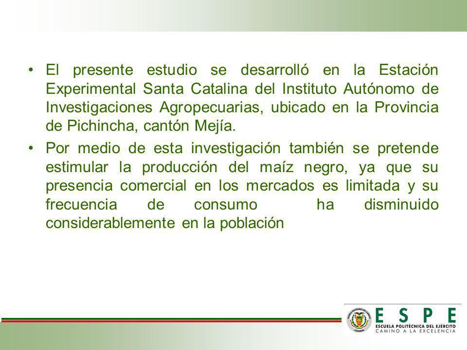 El presente estudio se desarrolló en la Estación Experimental Santa Catalina del Instituto Autónomo de Investigaciones Agropecuarias, ubicado en la Provincia de Pichincha, cantón Mejía.