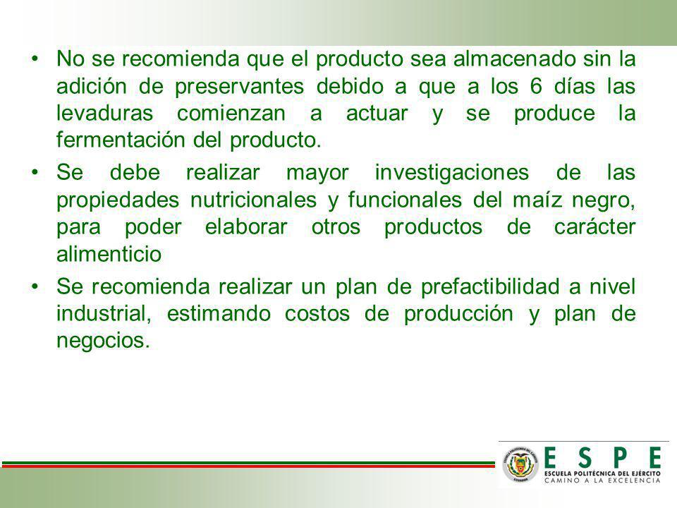 No se recomienda que el producto sea almacenado sin la adición de preservantes debido a que a los 6 días las levaduras comienzan a actuar y se produce la fermentación del producto.