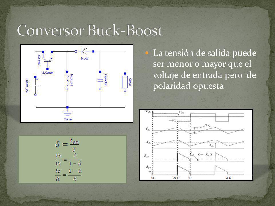 Conversor Buck-Boost La tensión de salida puede ser menor o mayor que el voltaje de entrada pero de polaridad opuesta.
