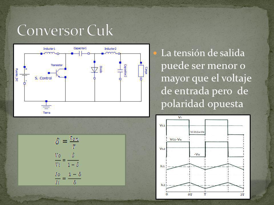 Conversor Cuk La tensión de salida puede ser menor o mayor que el voltaje de entrada pero de polaridad opuesta.