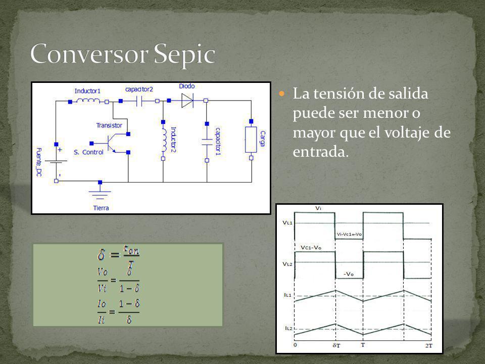 Conversor Sepic La tensión de salida puede ser menor o mayor que el voltaje de entrada.