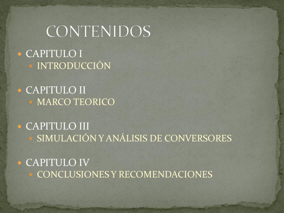 CONTENIDOS CAPITULO I CAPITULO II CAPITULO III CAPITULO IV