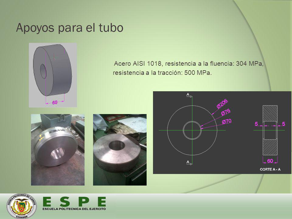 Apoyos para el tubo Acero AISI 1018, resistencia a la fluencia: 304 MPa, resistencia a la tracción: 500 MPa.