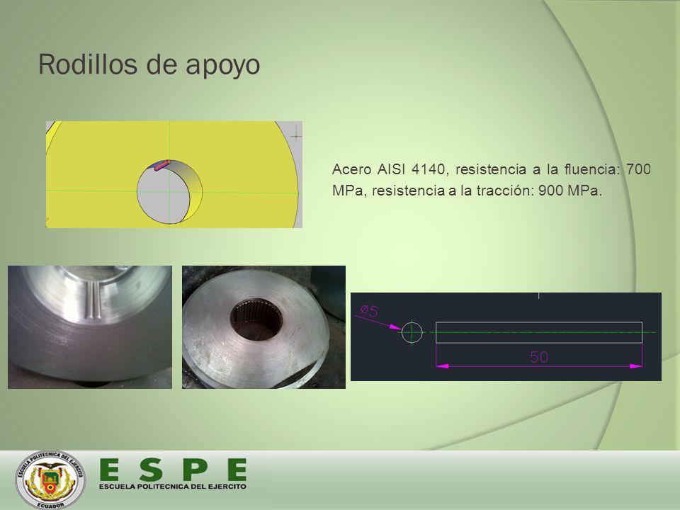 Rodillos de apoyo Acero AISI 4140, resistencia a la fluencia: 700 MPa, resistencia a la tracción: 900 MPa.