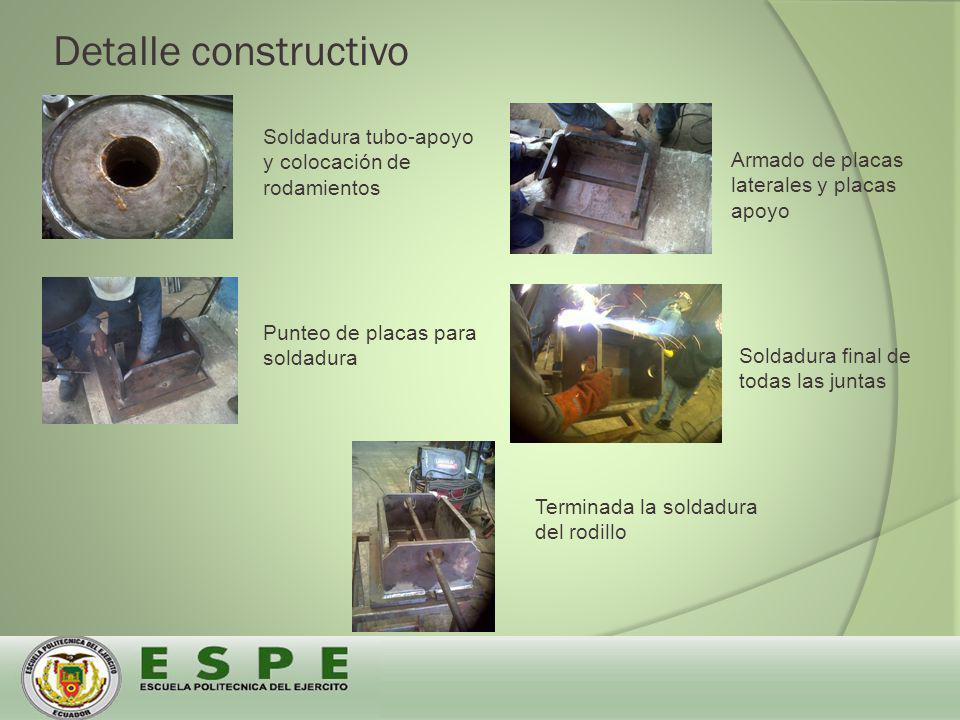 Detalle constructivo Soldadura tubo-apoyo y colocación de rodamientos