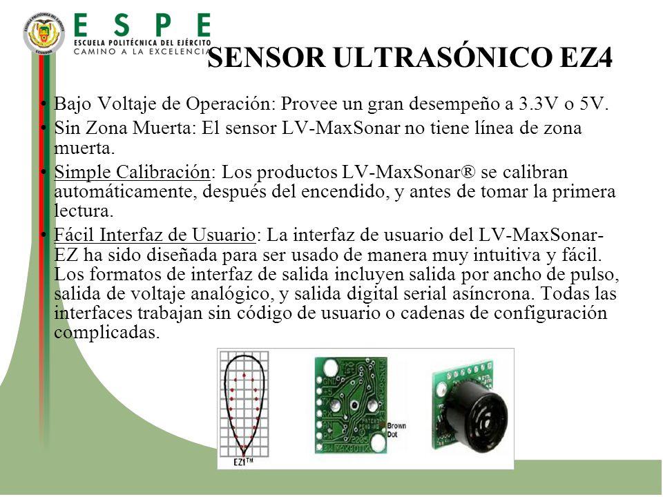 SENSOR ULTRASÓNICO EZ4 Bajo Voltaje de Operación: Provee un gran desempeño a 3.3V o 5V.