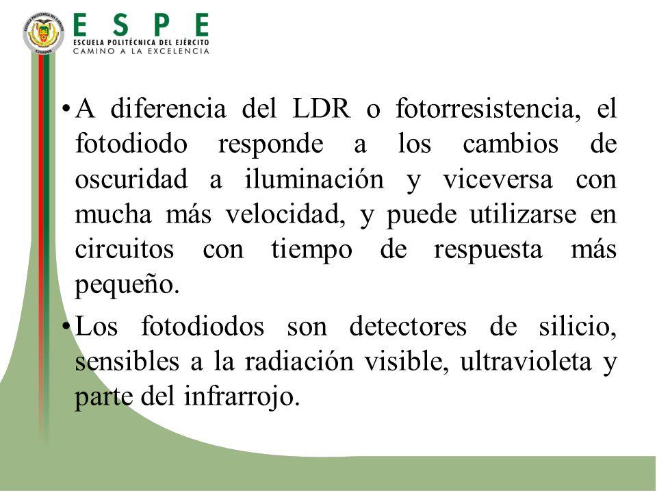 A diferencia del LDR o fotorresistencia, el fotodiodo responde a los cambios de oscuridad a iluminación y viceversa con mucha más velocidad, y puede utilizarse en circuitos con tiempo de respuesta más pequeño.