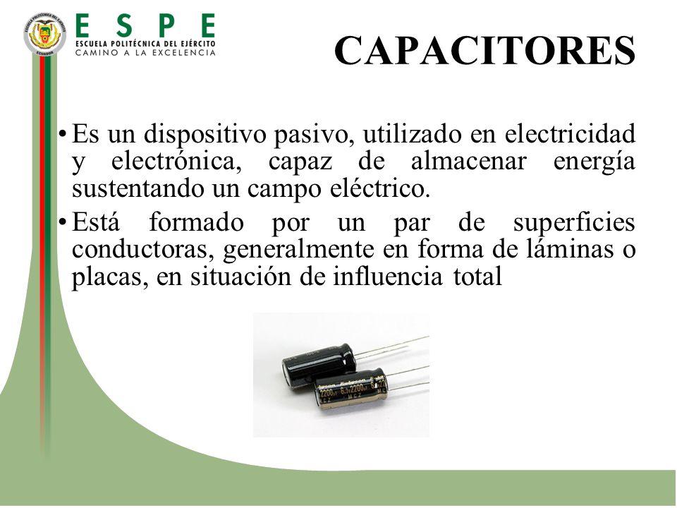 CAPACITORES Es un dispositivo pasivo, utilizado en electricidad y electrónica, capaz de almacenar energía sustentando un campo eléctrico.