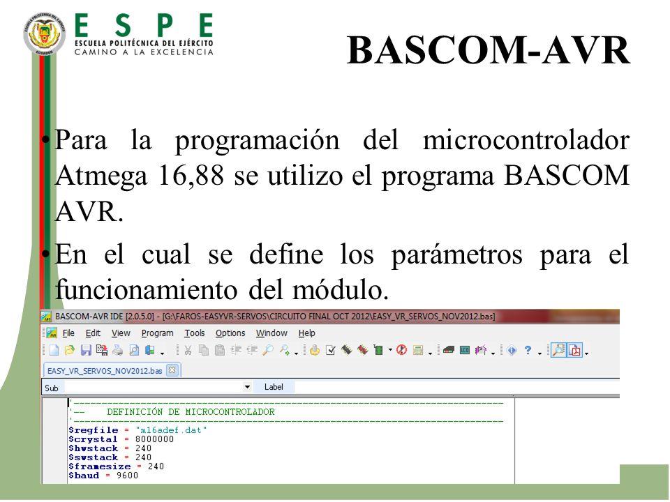 BASCOM-AVR Para la programación del microcontrolador Atmega 16,88 se utilizo el programa BASCOM AVR.