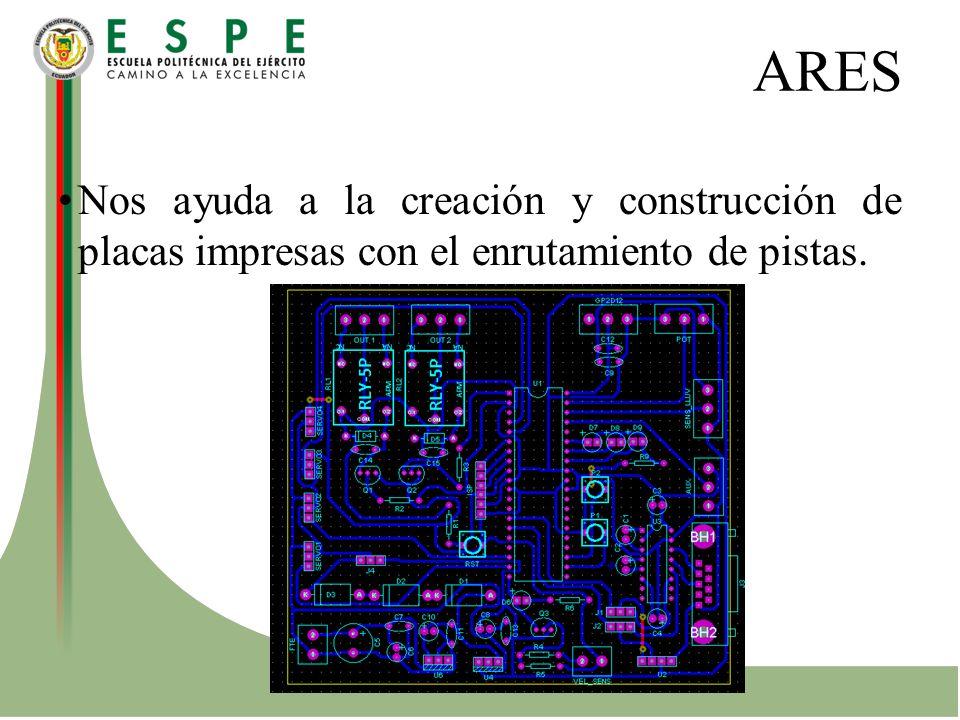 ARES Nos ayuda a la creación y construcción de placas impresas con el enrutamiento de pistas.