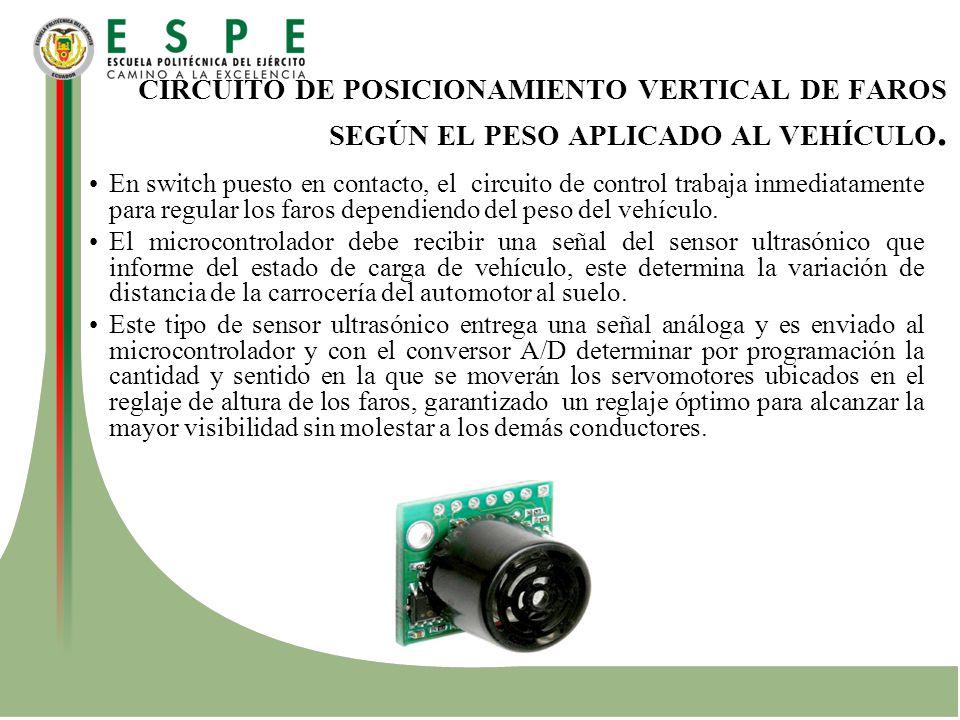 CIRCUITO DE POSICIONAMIENTO VERTICAL DE FAROS SEGÚN EL PESO APLICADO AL VEHÍCULO.