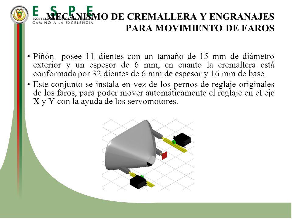 MECANISMO DE CREMALLERA Y ENGRANAJES PARA MOVIMIENTO DE FAROS