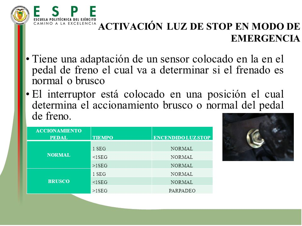 ACTIVACIÓN LUZ DE STOP EN MODO DE EMERGENCIA