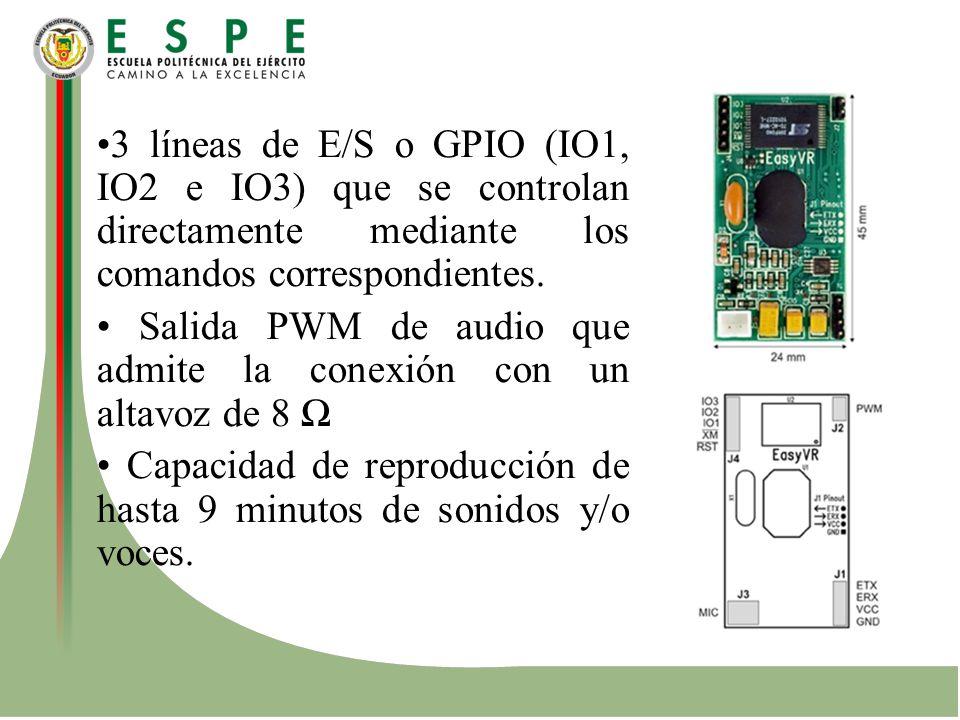 •3 líneas de E/S o GPIO (IO1, IO2 e IO3) que se controlan directamente mediante los comandos correspondientes.